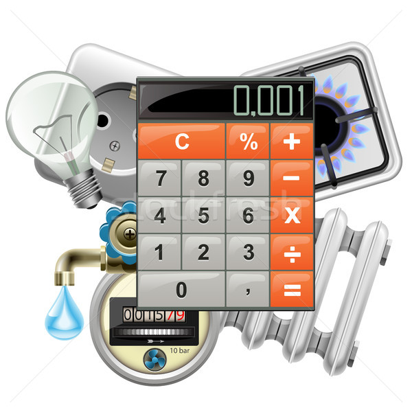 Vector Utilities Payments Concept with Calculator Stock photo © dashadima