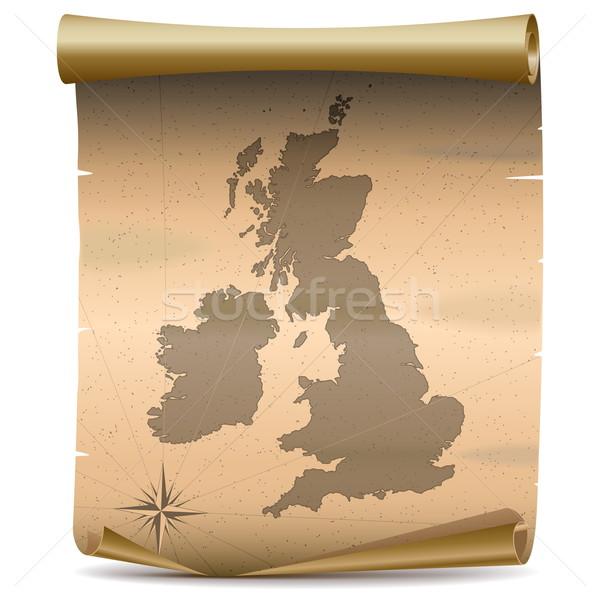 Vektor Egyesült Királyság klasszikus térkép izolált fehér Stock fotó © dashadima