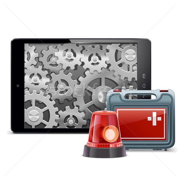 Vector Tablet PC with Emergency Kit Stock photo © dashadima