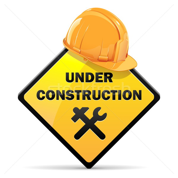 Vector Under Construction Sign with Helmet Stock photo © dashadima