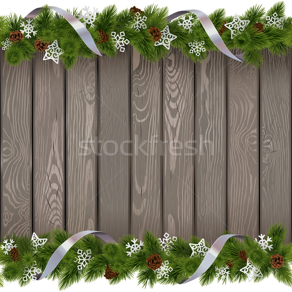 ストックフォト: ベクトル · シームレス · クリスマス · 古い · ボード · 紙