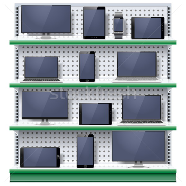 Vector Shelves with Modern Electronic Devices Stock photo © dashadima