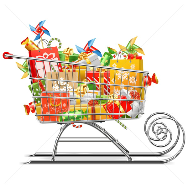 Vector Supermarket Sleigh with Gifts Stock photo © dashadima