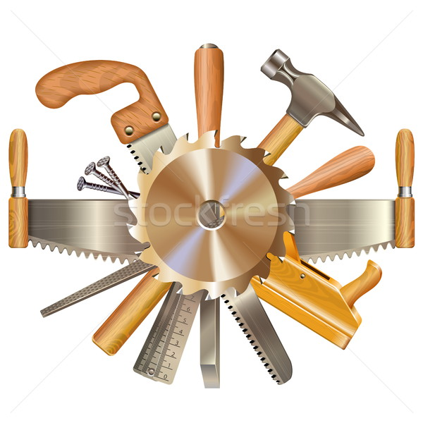 Stock photo: Vector Saw Blade with Retro Tools