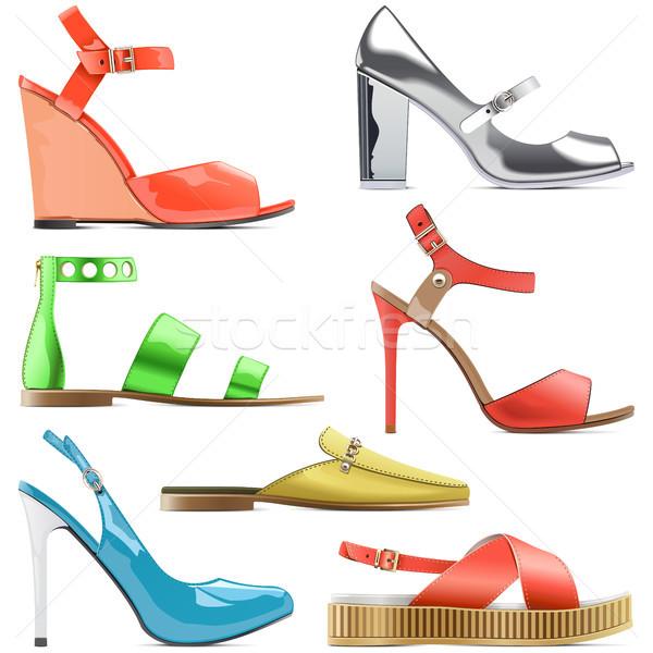 Stockfoto: Vector · vrouwelijke · zomerschoenen · geïsoleerd · witte · vrouwen