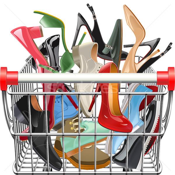 Wektora supermarket koszyka buty odizolowany biały Zdjęcia stock © dashadima