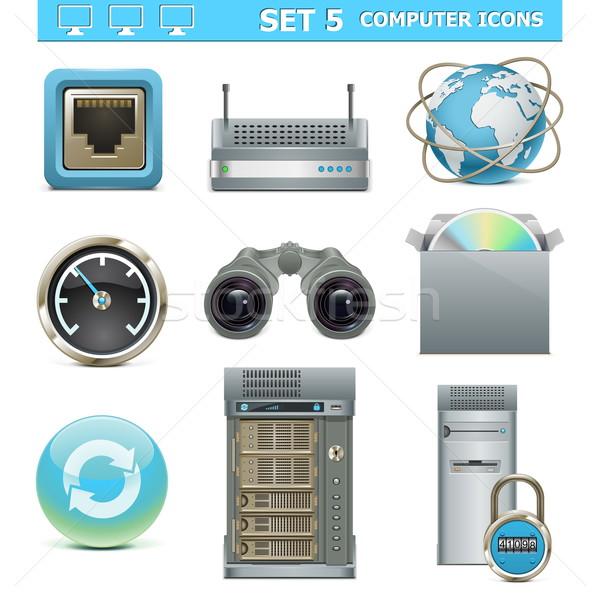 Vetor ícones do computador conjunto internet servidor segurança Foto stock © dashadima