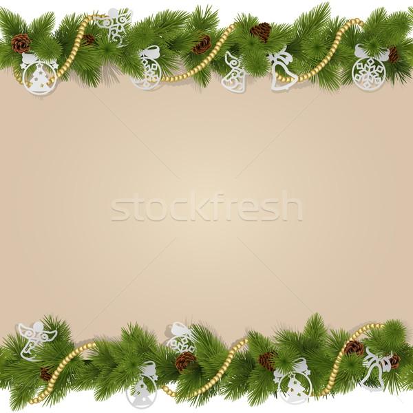 Stok fotoğraf: Vektör · Noel · süslemeleri · yalıtılmış · beyaz · kış