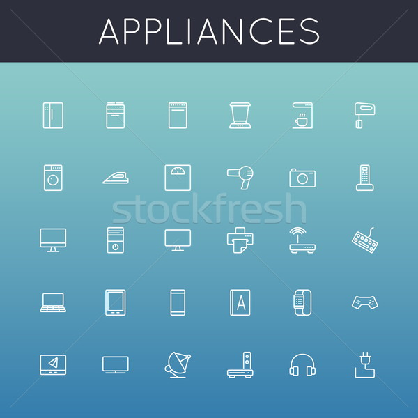 Vector Appliances Line Icons Stock photo © dashadima