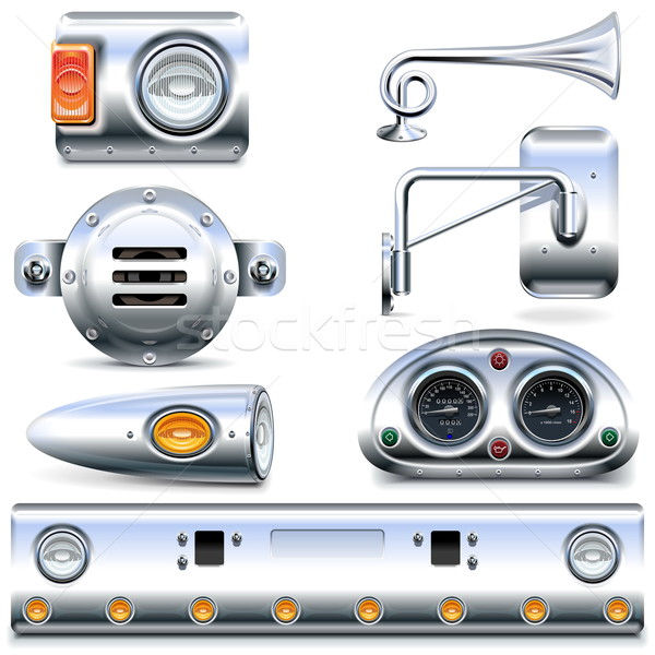 Vector Chromed Truck Parts Set 3 Stock photo © dashadima