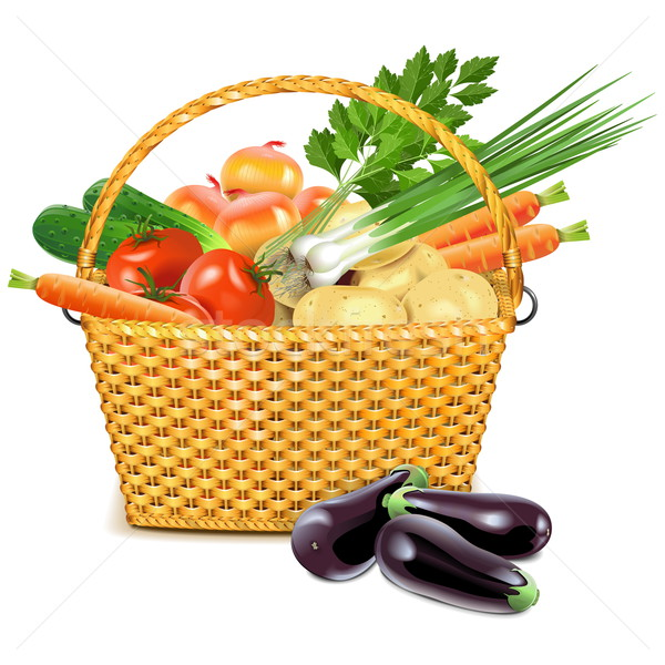 Vector Wicker Basket with Vegetables Stock photo © dashadima