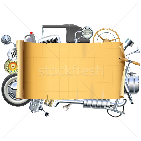 Vector Retro Car Parts Frame Stock photo © dashadima