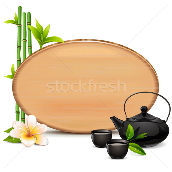 Vector Wooden Board with Teapot Stock photo © dashadima