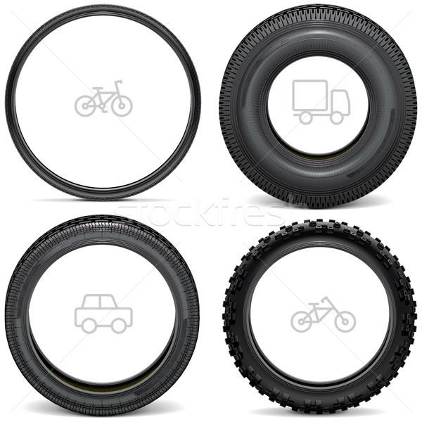 Vector Vehicle Tires with Line Icons Stock photo © dashadima