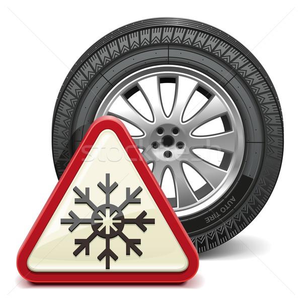 Vector Winter Tire with Sign Stock photo © dashadima