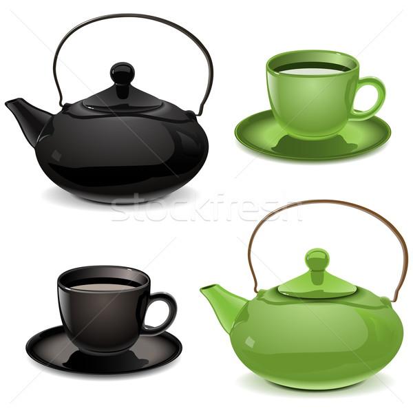 Vector Teapot and Cup Stock photo © dashadima