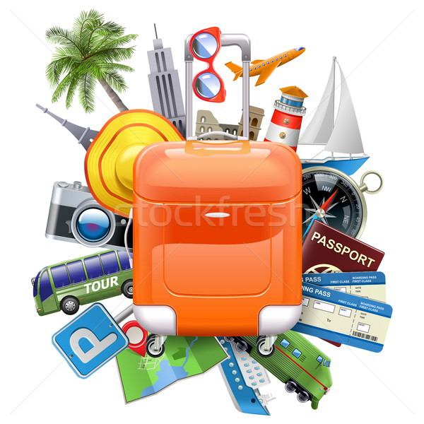 Vector Travel Concept with Rolling Bag Stock photo © dashadima