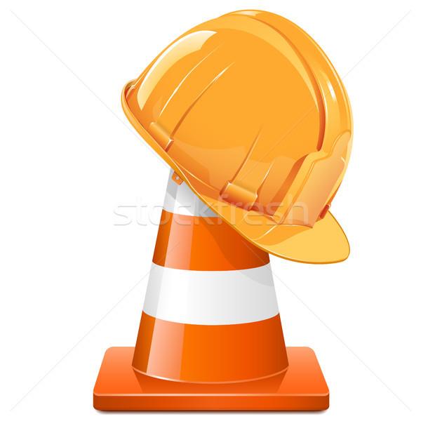 Vector Construction Cone with Helmet Stock photo © dashadima