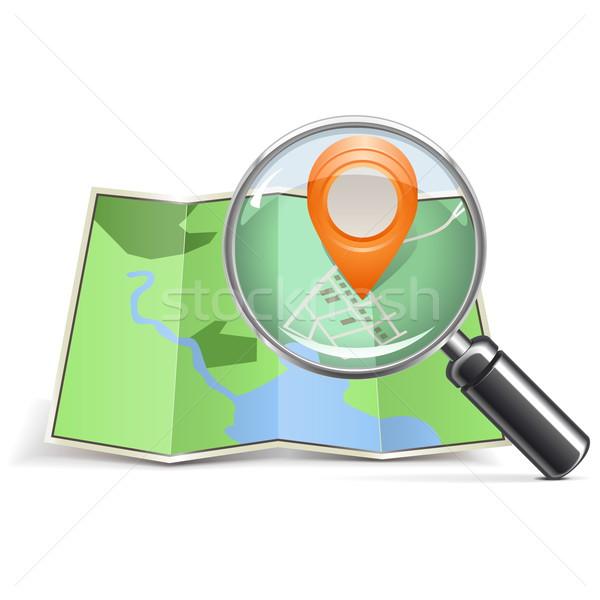Vector Loupe with Map Pointer Stock photo © dashadima