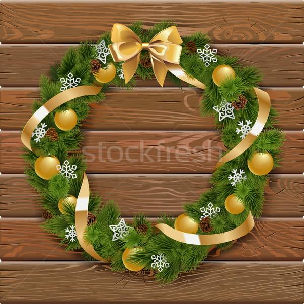 Stok fotoğraf: Vektör · Noel · çelenk · altın · süslemeleri