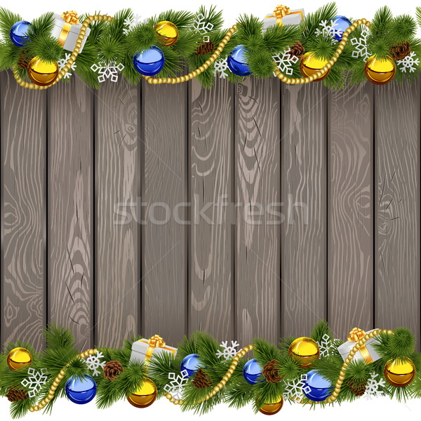 Vector Seamless Christmas Old Board with Golden Beads Stock photo © dashadima