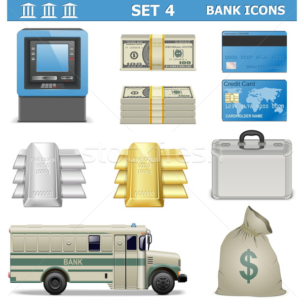 Vector Bank Icons Set 4 Stock photo © dashadima
