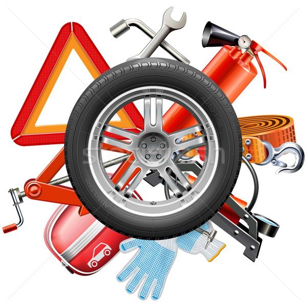 Vector Wheel with Car Accessories Stock photo © dashadima