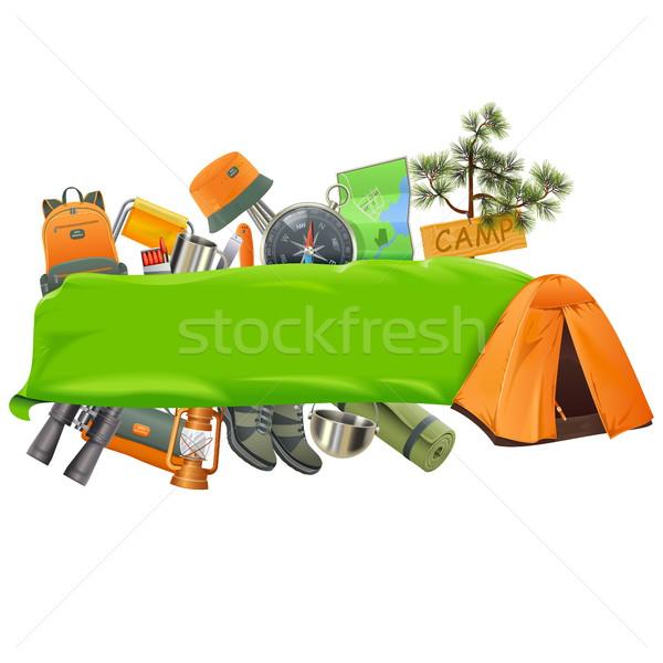 Vector camping banner geïsoleerd witte zomer Stockfoto © dashadima