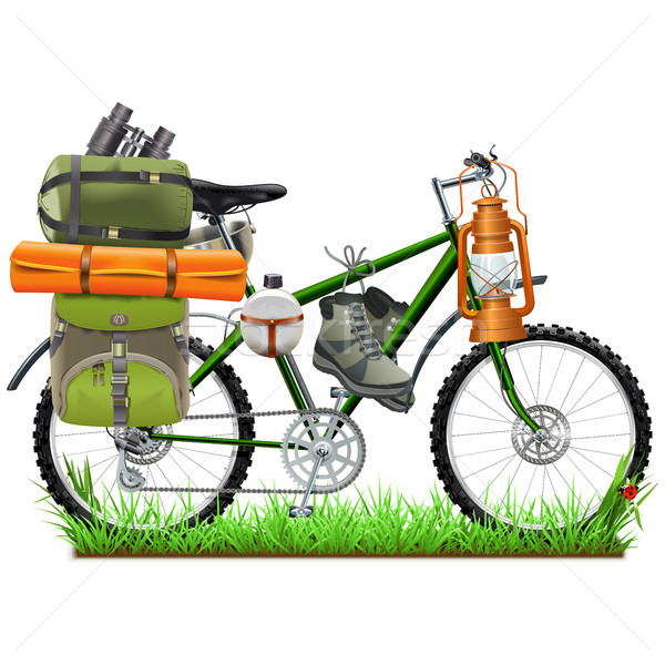 Vetor camping bicicleta isolado branco grama Foto stock © dashadima