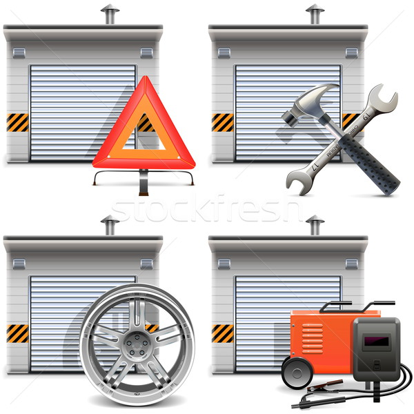 Vector Garage with Spares and Tools Stock photo © dashadima
