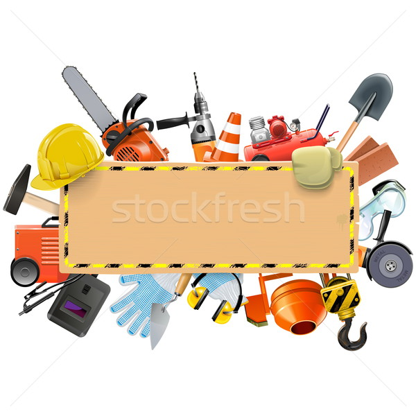 Vector Construction Board with Tools Stock photo © dashadima