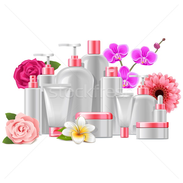 Vector cosmetische verpakking bloemen geïsoleerd witte Stockfoto © dashadima