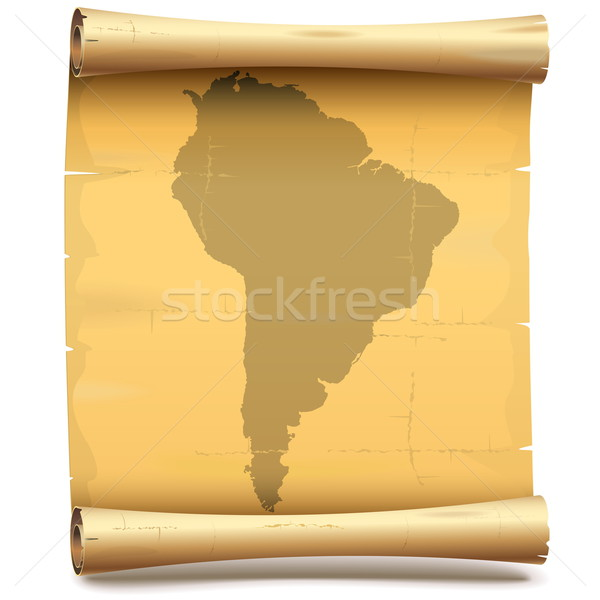 Vector Paper Scroll with South America Stock photo © dashadima