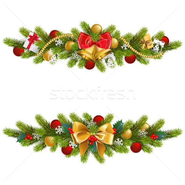 Vector Navidad abeto decoración arco aislado Foto stock © dashadima