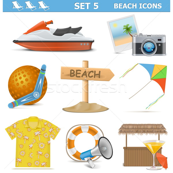 Vector Beach Icons Set 5 Stock photo © dashadima