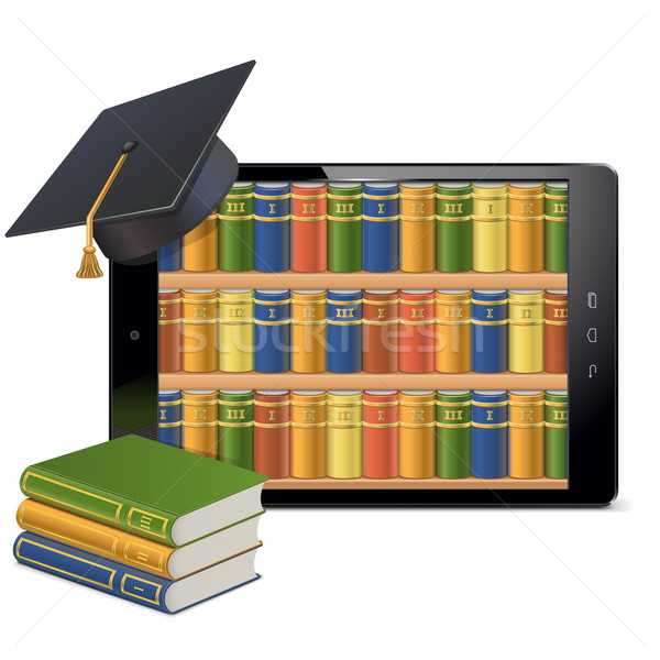 Vector Tablet PC with Library Stock photo © dashadima