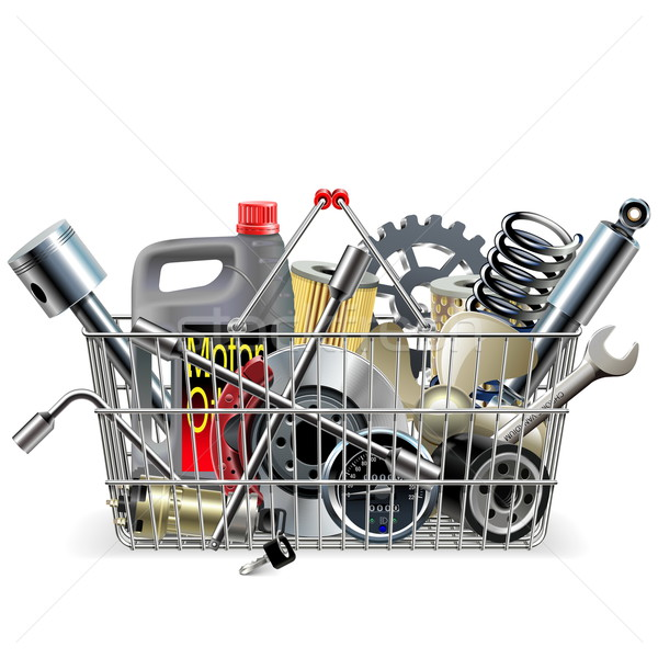 Vector Basket with Car Spares Stock photo © dashadima