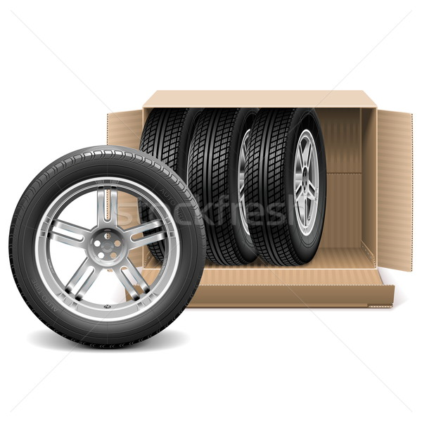 Vector Car Wheels in Carton Box Stock photo © dashadima