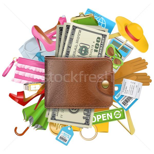 Vektör alışveriş cüzdan yalıtılmış beyaz hesap makinesi Stok fotoğraf © dashadima