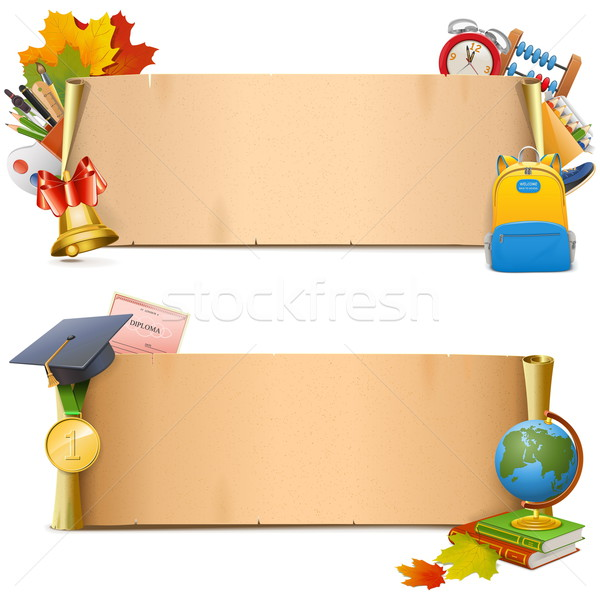 Vector School Paper Scrolls Stock photo © dashadima