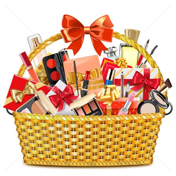 Vector Gift Basket with Makeup Cosmetics Stock photo © dashadima