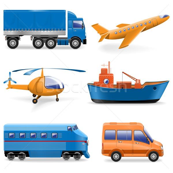 Vector vervoer iconen auto wereldbol vrachtwagen Stockfoto © dashadima