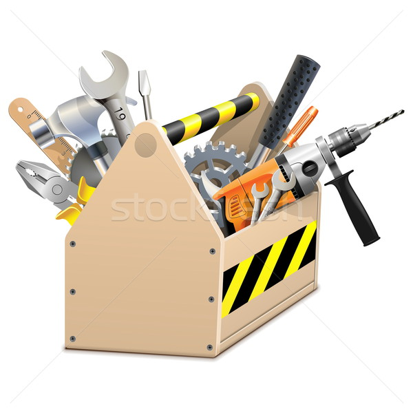 Stock photo: Vector Wooden Box with Tools