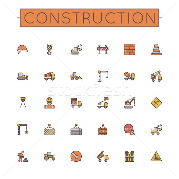 Photo stock: Vecteur · construction · ligne · icônes · isolé