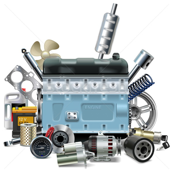Vector Engine with Car Spares Stock photo © dashadima