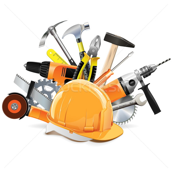 Vector bouw tools helm geïsoleerd witte Stockfoto © dashadima