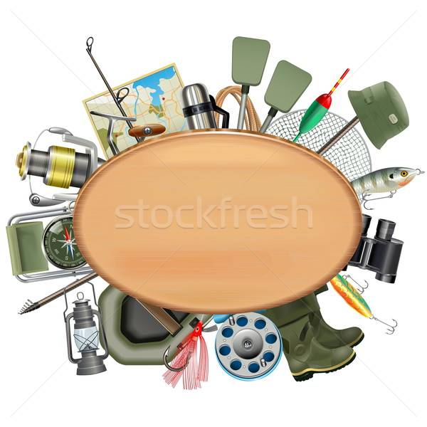 Vector Wooden Board with Fishing Tackle Stock photo © dashadima