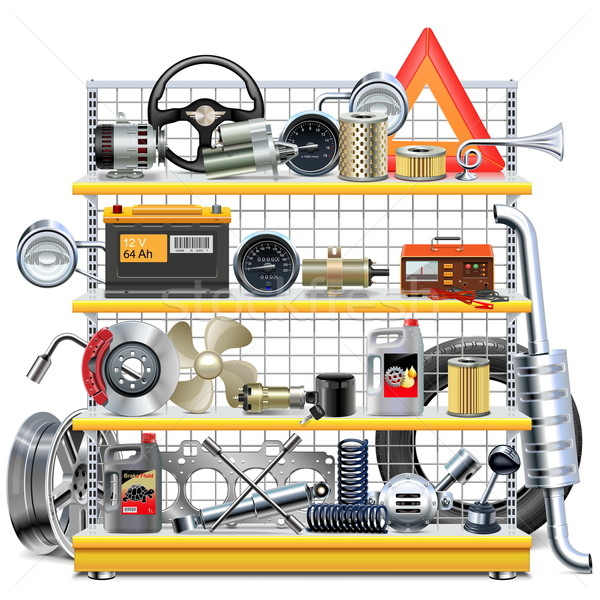 Vector Supermarket Shelves with Car Spares Stock photo © dashadima