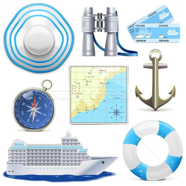 Vector cruise iconen geïsoleerd witte zee Stockfoto © dashadima