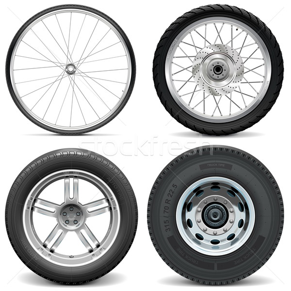 Stock photo: Vector Tires for Bicycle Motorcycle Car and Truck